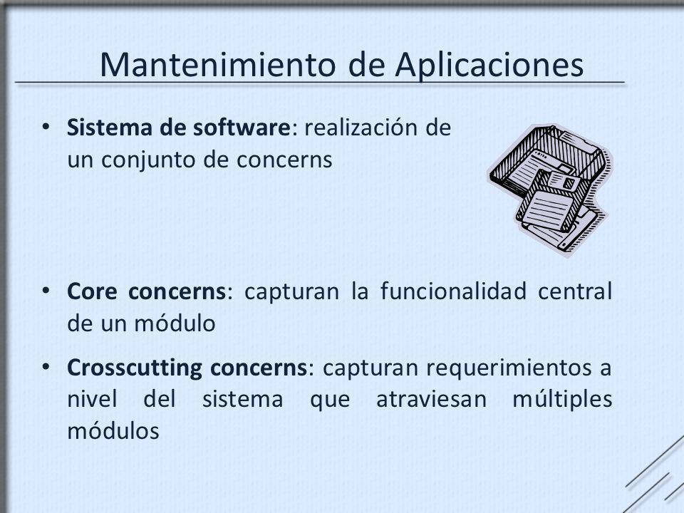 Mantenimiento de Aplicaciones Sistema de software: realización de un conjunto de concerns Core concerns: capturan la funcionalidad central de un módul