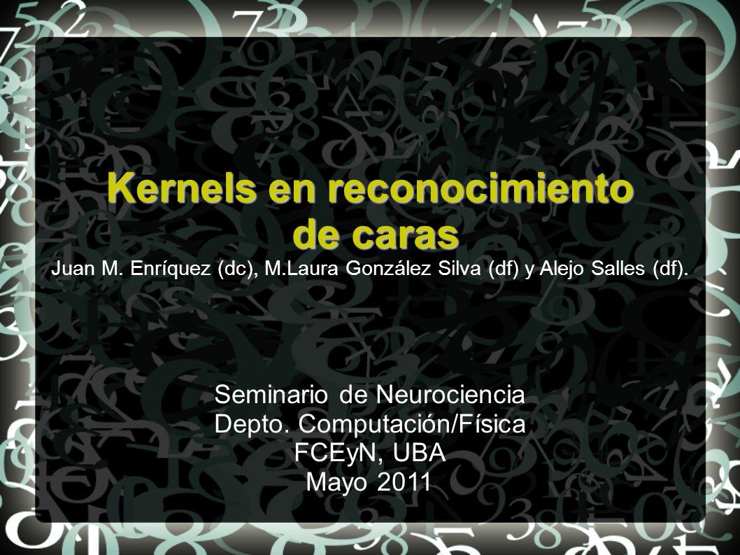 Kernels en reconocimiento de caras de caras Juan M. Enríquez (dc), M.Laura González Silva (df) y Alejo Salles (df). Seminario de Neurociencia Depto. C