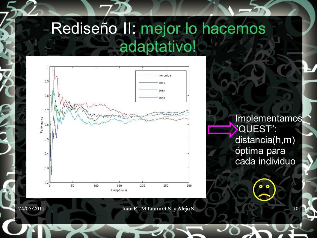 24/05/2011Juan E., M.Laura G.S. y Alejo S.10 Rediseño II: mejor lo hacemos adaptativo! Implementamos QUEST: distancia(h,m) óptima para cada individuo