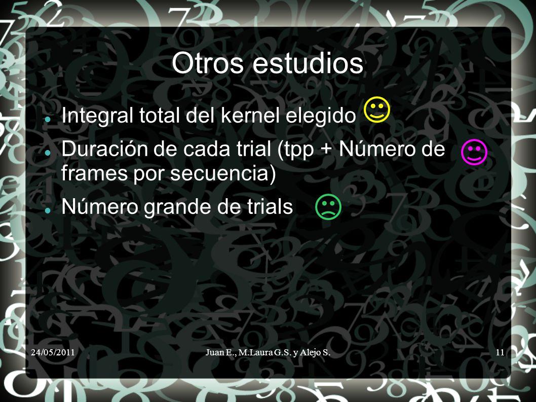 24/05/2011Juan E., M.Laura G.S. y Alejo S.11 Otros estudios Integral total del kernel elegido Duración de cada trial (tpp + Número de frames por secue