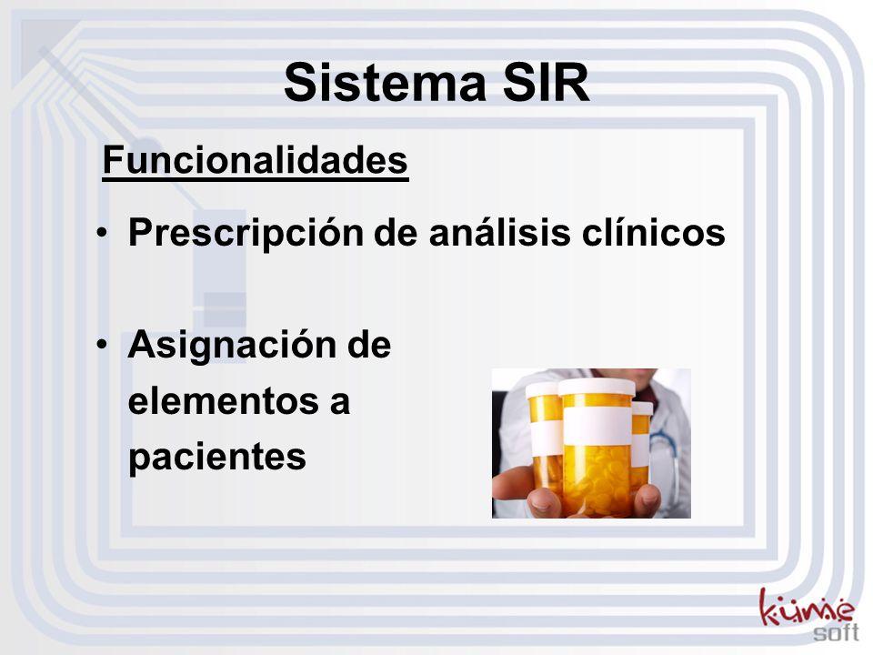 Prescripción de análisis clínicos Asignación de elementos a pacientes Sistema SIR Funcionalidades