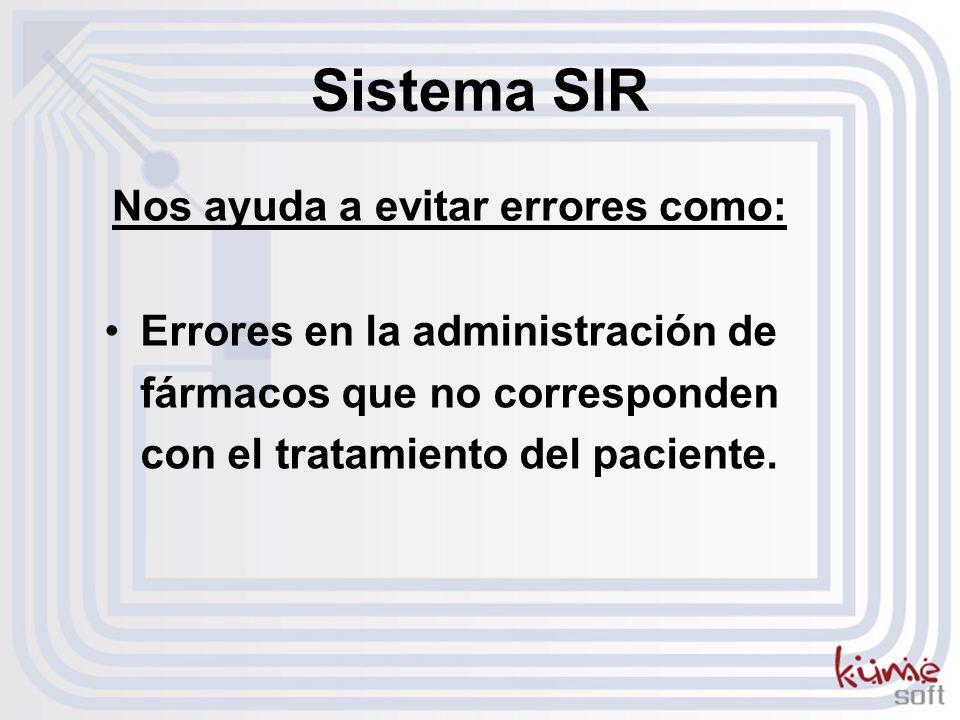 Errores en la administración de fármacos que no corresponden con el tratamiento del paciente. Nos ayuda a evitar errores como: Sistema SIR
