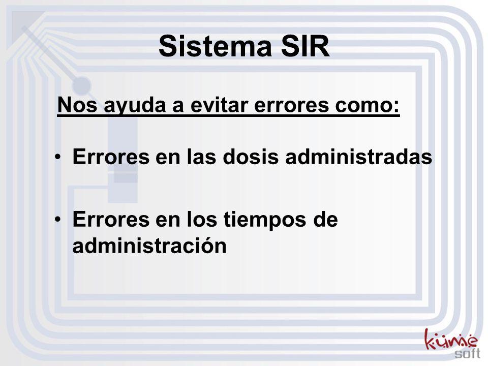 Errores en las dosis administradas Errores en los tiempos de administración Sistema SIR Nos ayuda a evitar errores como: