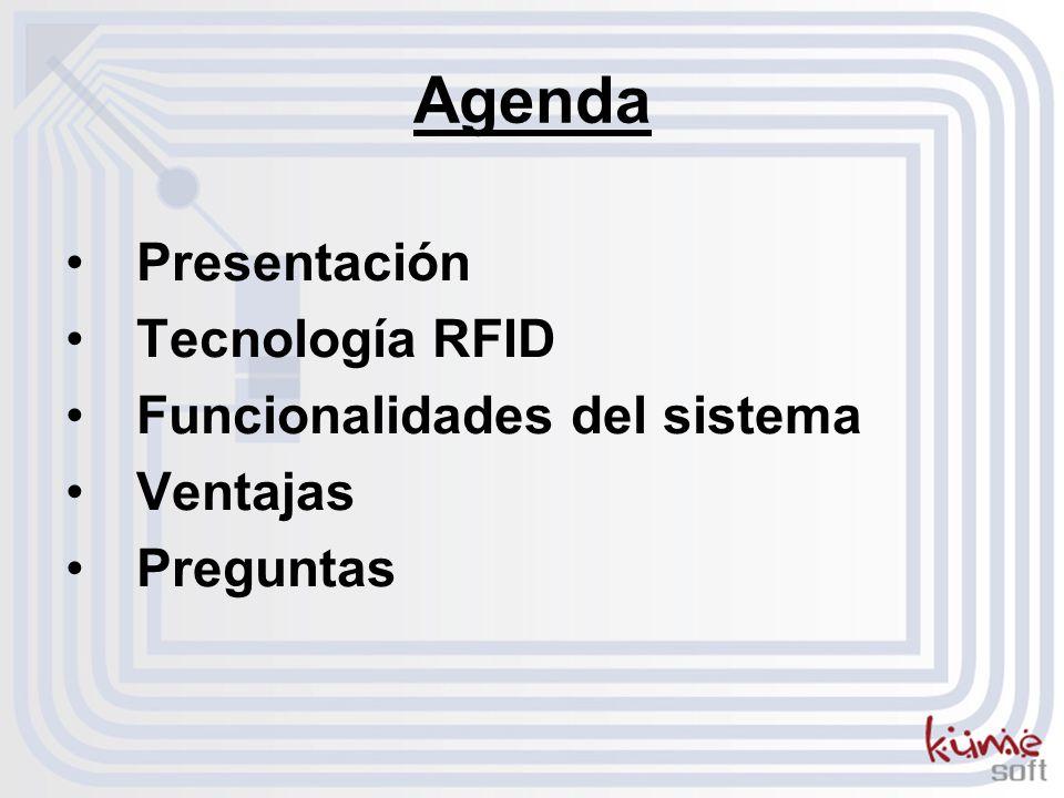 Agenda Presentación Tecnología RFID Funcionalidades del sistema Ventajas Preguntas