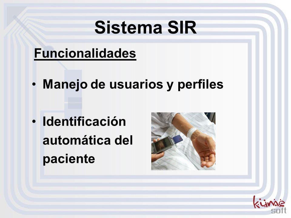 Sistema SIR Manejo de usuarios y perfiles Identificación automática del paciente Funcionalidades