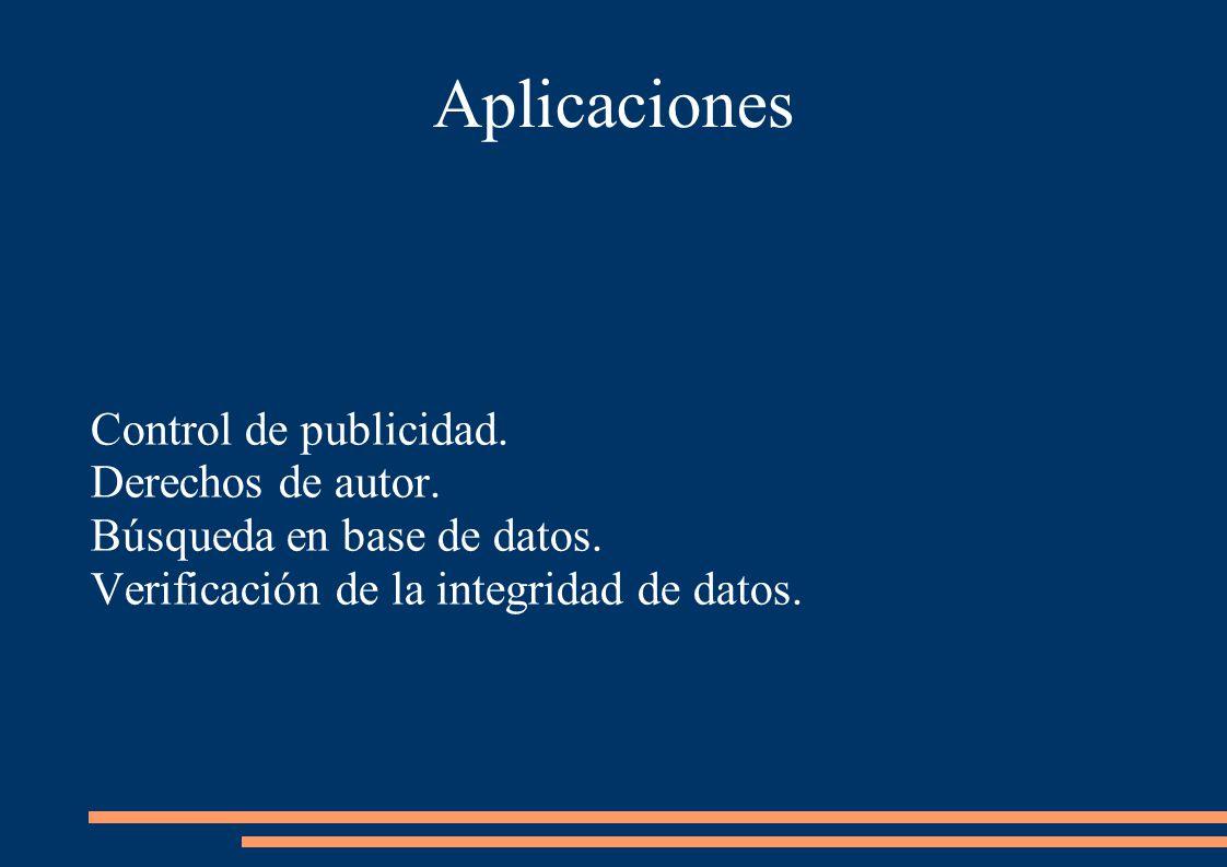 Aplicaciones Control de publicidad. Derechos de autor.