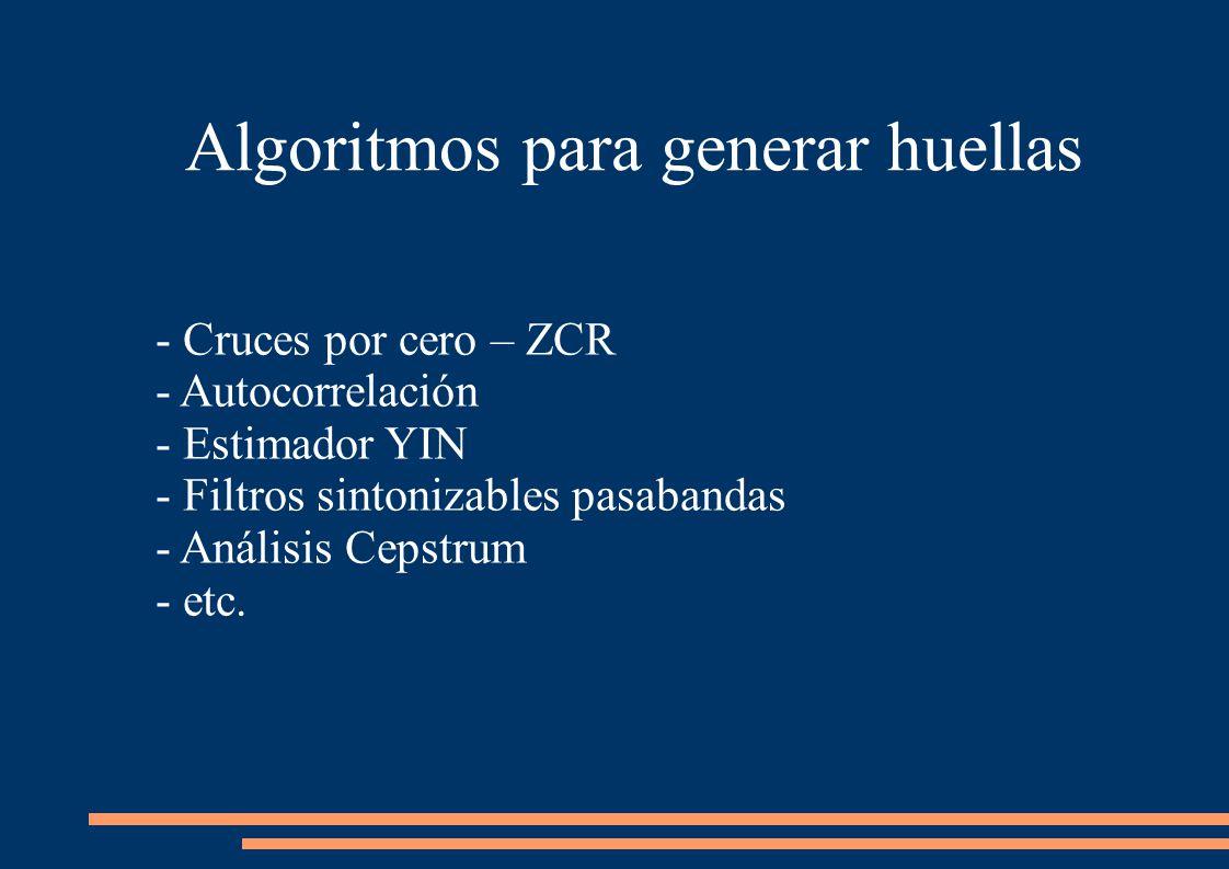Algoritmos para generar huellas - Cruces por cero – ZCR - Autocorrelación - Estimador YIN - Filtros sintonizables pasabandas - Análisis Cepstrum - etc.