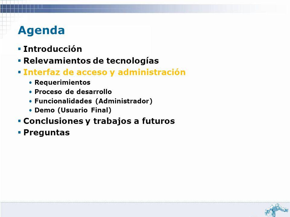 Agenda Introducción Relevamientos de tecnologías Interfaz de acceso y administración Requerimientos Proceso de desarrollo Funcionalidades (Administrad