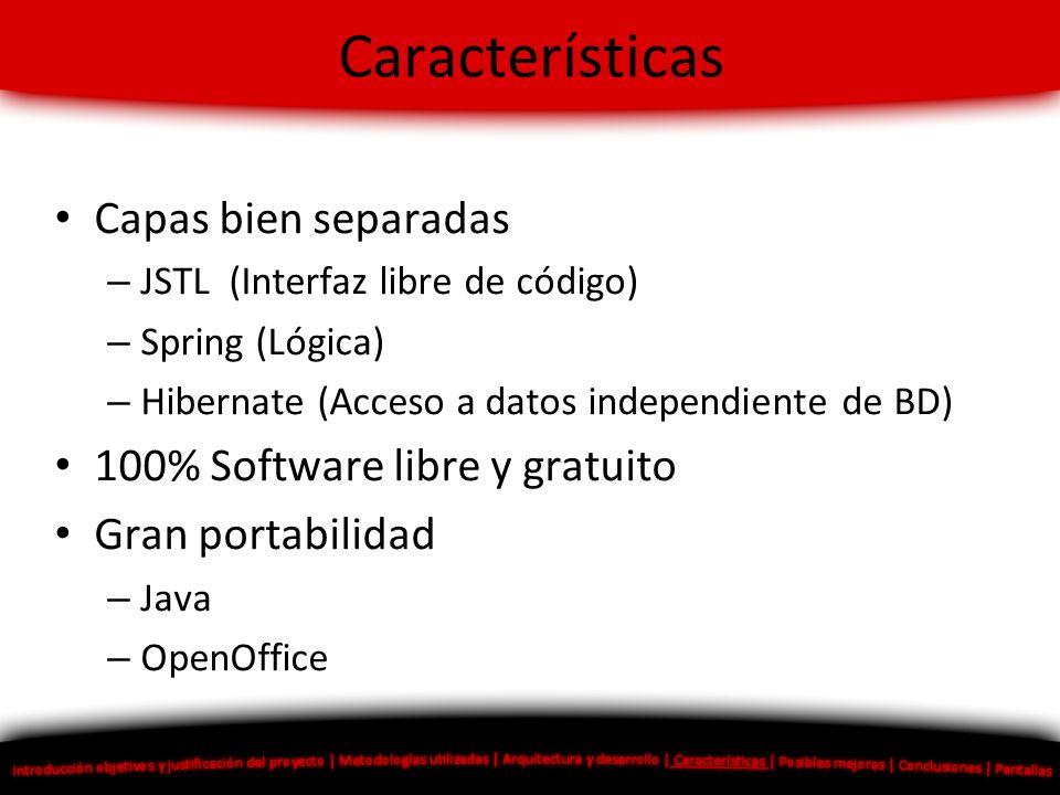 Características Capas bien separadas – JSTL (Interfaz libre de código) – Spring (Lógica) – Hibernate (Acceso a datos independiente de BD) 100% Softwar