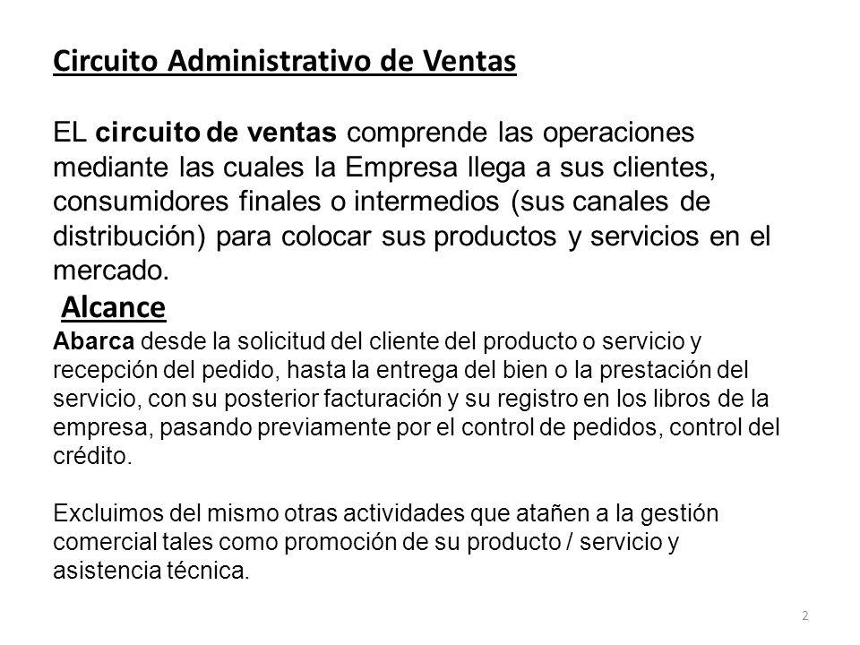 Circuito Administrativo de Ventas EL circuito de ventas comprende las operaciones mediante las cuales la Empresa llega a sus clientes, consumidores finales o intermedios (sus canales de distribución) para colocar sus productos y servicios en el mercado.