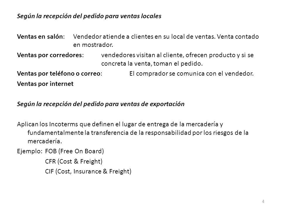 Según la recepción del pedido para ventas locales Ventas en salón: Vendedor atiende a clientes en su local de ventas.