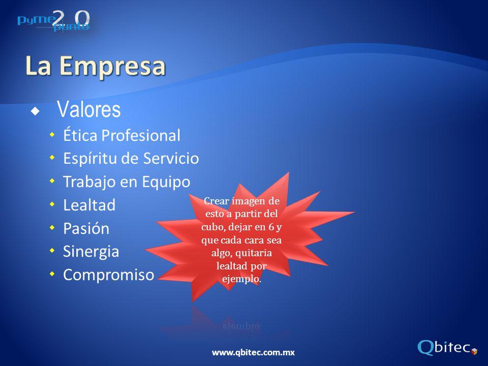 www.qbitec.com.mx Valores Ética Profesional Espíritu de Servicio Trabajo en Equipo Lealtad Pasión Sinergia Compromiso