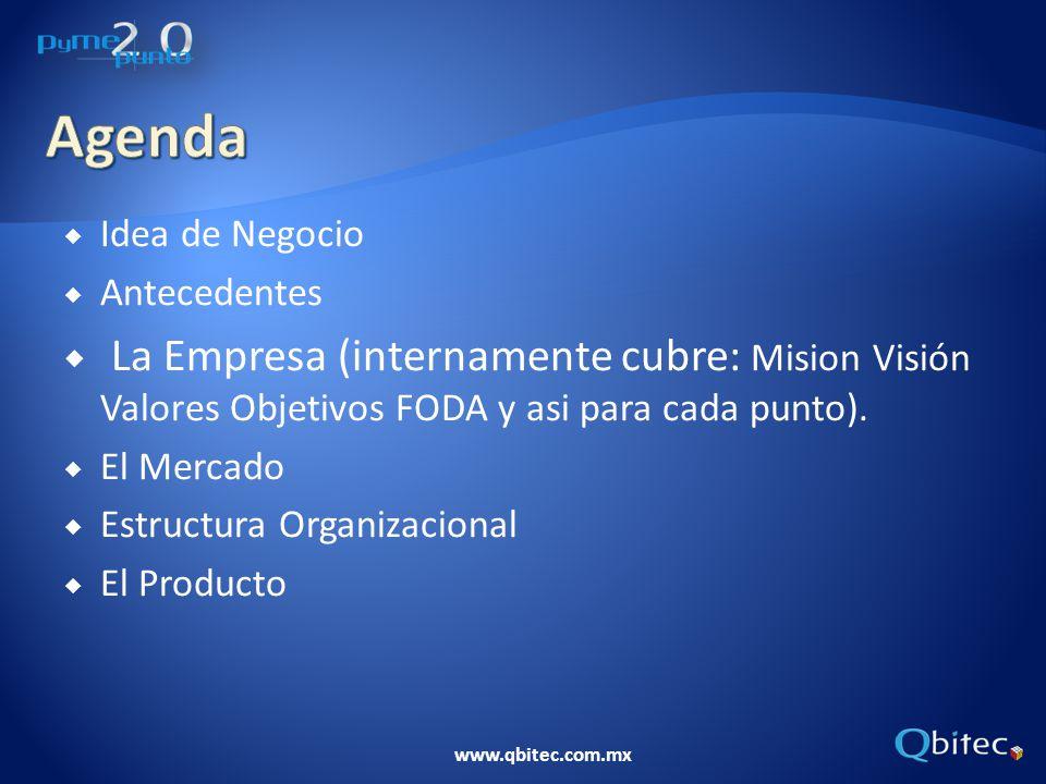 www.qbitec.com.mx Idea de Negocio Antecedentes La Empresa (internamente cubre: Mision Visión Valores Objetivos FODA y asi para cada punto). El Mercado