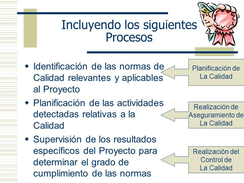 Incluyendo los siguientes Procesos Identificación de las normas de Calidad relevantes y aplicables al Proyecto Planificación de las actividades detect
