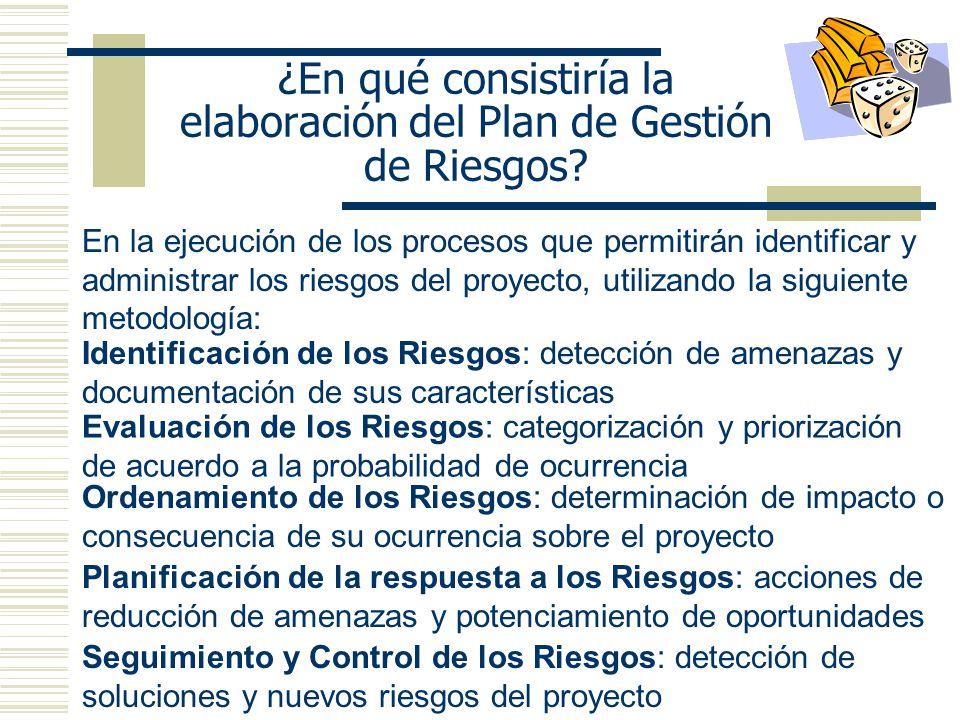 ¿En qué consistiría la elaboración del Plan de Gestión de Riesgos? En la ejecución de los procesos que permitirán identificar y administrar los riesgo