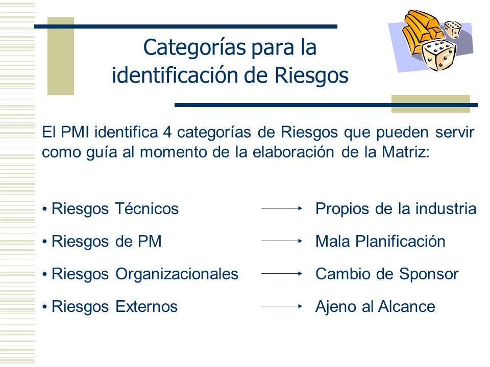 Categorías para la identificación de Riesgos El PMI identifica 4 categorías de Riesgos que pueden servir como guía al momento de la elaboración de la Matriz: Riesgos TécnicosPropios de la industria Riesgos de PMMala Planificación Riesgos OrganizacionalesCambio de Sponsor Riesgos ExternosAjeno al Alcance