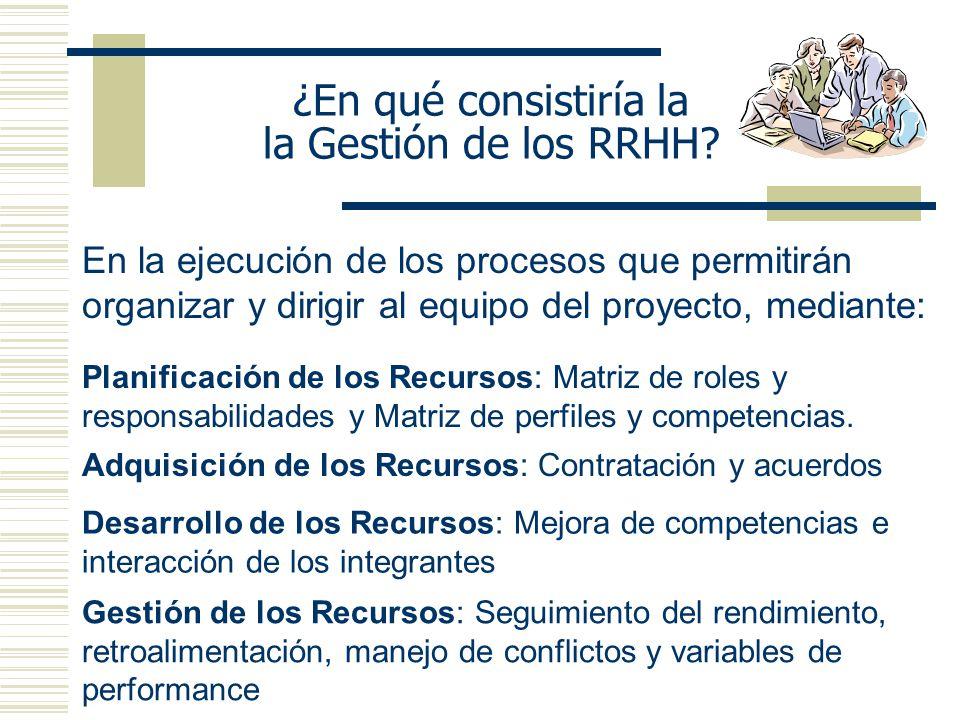 ¿En qué consistiría la la Gestión de los RRHH? En la ejecución de los procesos que permitirán organizar y dirigir al equipo del proyecto, mediante: Pl