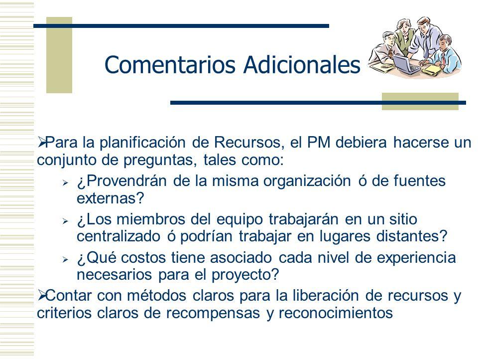 Comentarios Adicionales Para la planificación de Recursos, el PM debiera hacerse un conjunto de preguntas, tales como: ¿Provendrán de la misma organización ó de fuentes externas.