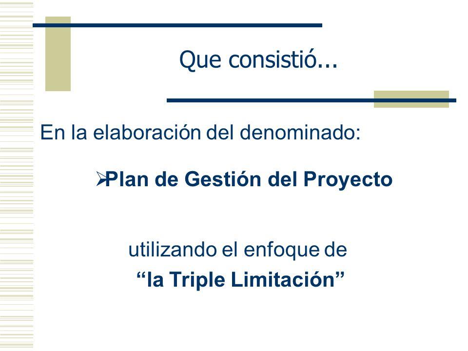 Que consistió... En la elaboración del denominado: utilizando el enfoque de la Triple Limitación Plan de Gestión del Proyecto