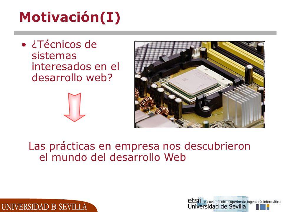 Motivación(I) ¿Técnicos de sistemas interesados en el desarrollo web? Las prácticas en empresa nos descubrieron el mundo del desarrollo Web