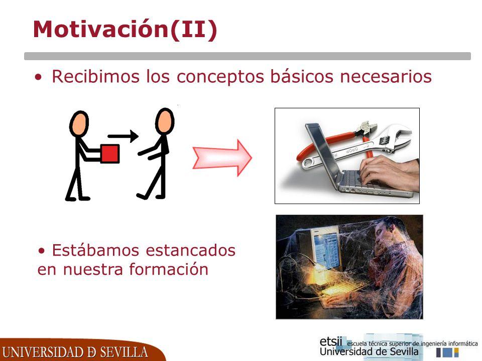 Motivación(II) Recibimos los conceptos básicos necesarios Estábamos estancados en nuestra formación