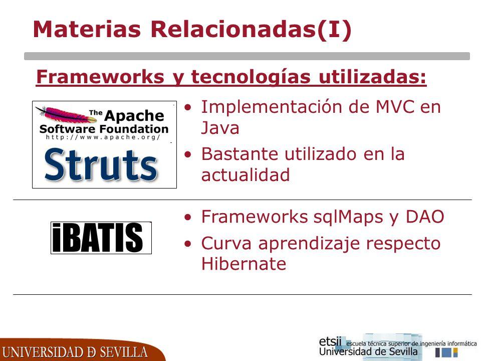 Materias Relacionadas(I) Frameworks y tecnologías utilizadas: Implementación de MVC en Java Bastante utilizado en la actualidad Frameworks sqlMaps y D