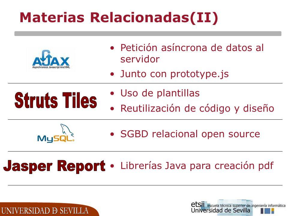 Materias Relacionadas(II) Petición asíncrona de datos al servidor Junto con prototype.js Uso de plantillas Reutilización de código y diseño SGBD relac