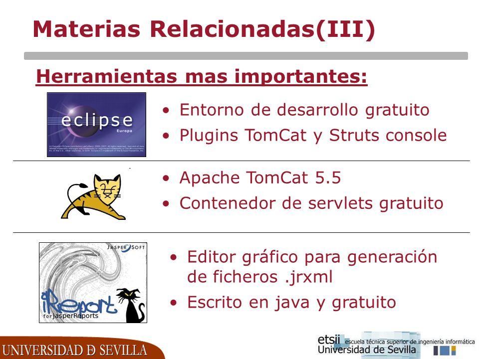 Materias Relacionadas(III) Herramientas mas importantes: Entorno de desarrollo gratuito Plugins TomCat y Struts console Apache TomCat 5.5 Contenedor d