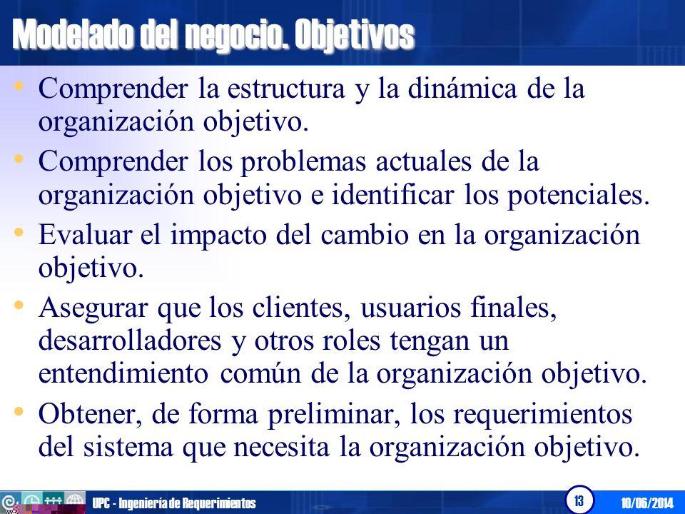 10/06/2014UPC - Ingeniería de Requerimientos 13 Modelado del negocio. Objetivos Comprender la estructura y la dinámica de la organización objetivo. Co