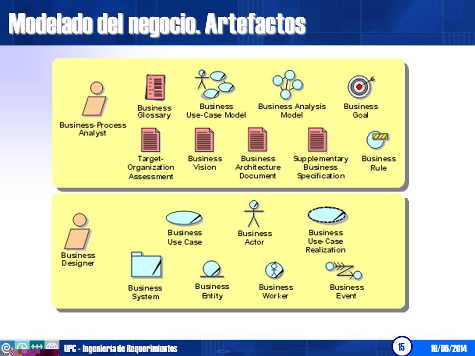 10/06/2014UPC - Ingeniería de Requerimientos 15 Modelado del negocio. Artefactos