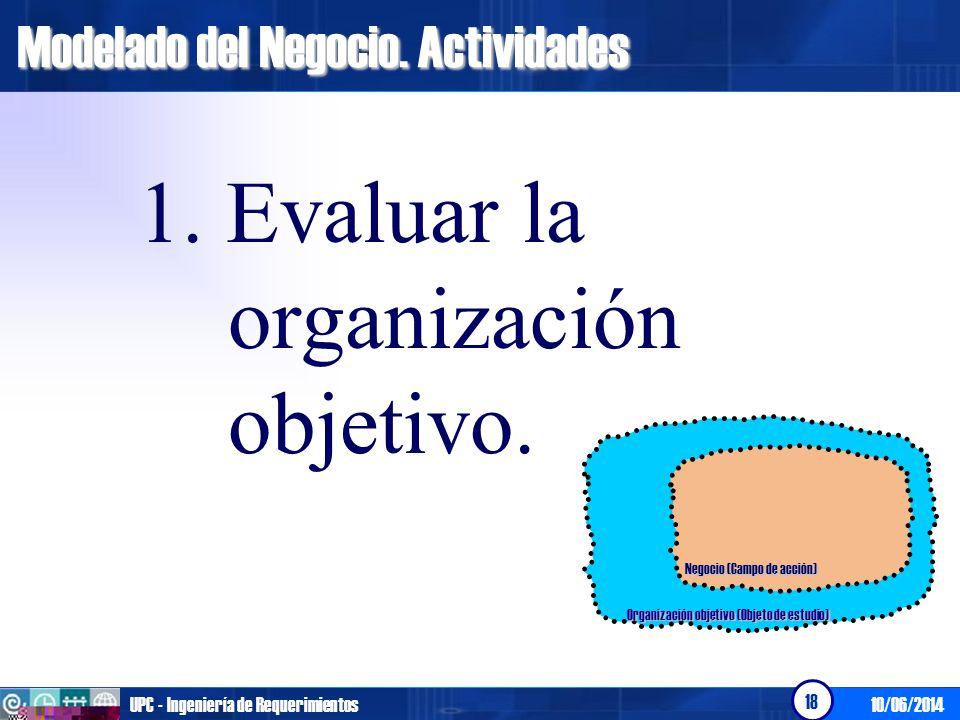 10/06/2014UPC - Ingeniería de Requerimientos 18 Modelado del Negocio. Actividades 1. Evaluar la organización objetivo. Organización objetivo (Objeto d