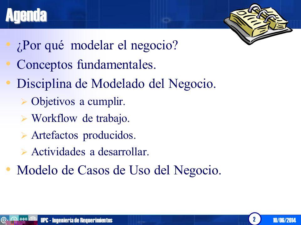 10/06/2014UPC - Ingeniería de Requerimientos 2Agenda ¿Por qué modelar el negocio? Conceptos fundamentales. Disciplina de Modelado del Negocio. Objetiv