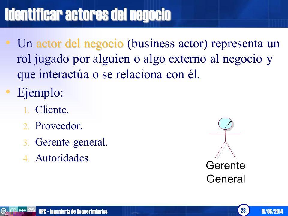 10/06/2014UPC - Ingeniería de Requerimientos 23 Identificar actores del negocio actor del negocio Un actor del negocio (business actor) representa un