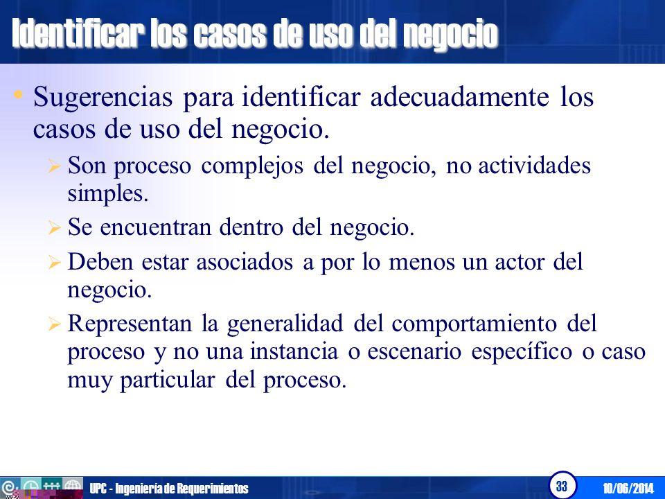 10/06/2014UPC - Ingeniería de Requerimientos 33 Identificar los casos de uso del negocio Sugerencias para identificar adecuadamente los casos de uso d