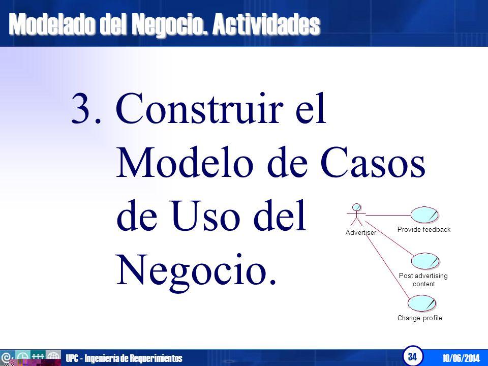 10/06/2014UPC - Ingeniería de Requerimientos 34 Modelado del Negocio. Actividades 3. Construir el Modelo de Casos de Uso del Negocio. Provide feedback