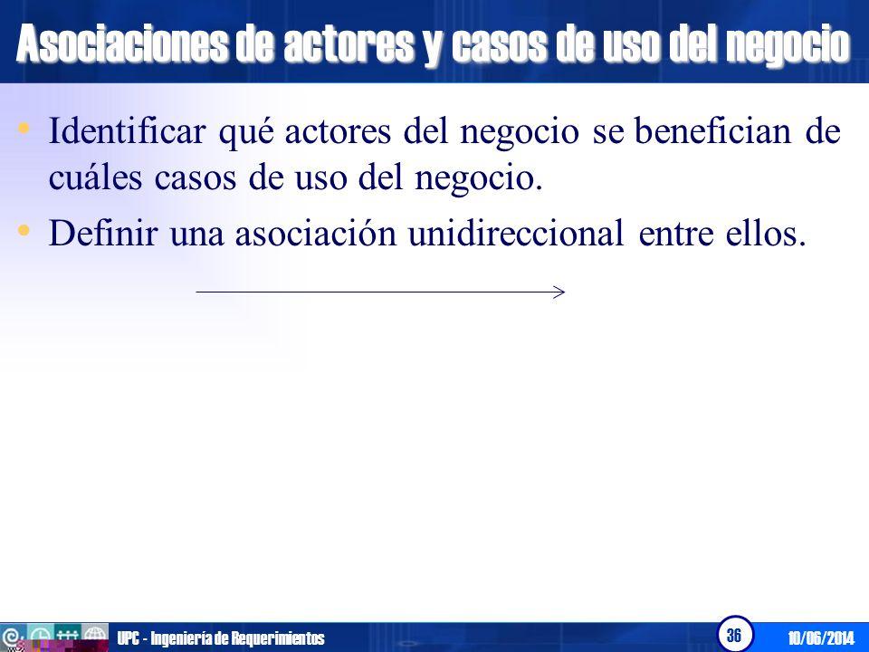 10/06/2014UPC - Ingeniería de Requerimientos 36 Asociaciones de actores y casos de uso del negocio Identificar qué actores del negocio se benefician d