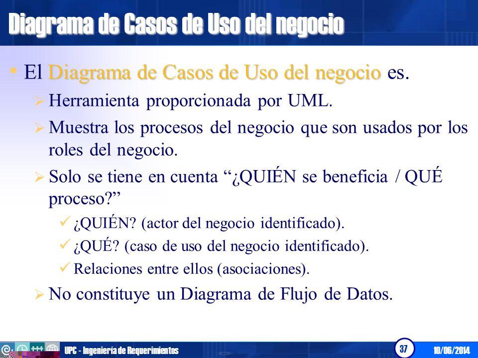 10/06/2014UPC - Ingeniería de Requerimientos 37 Diagrama de Casos de Uso del negocio Diagrama de Casos de Uso del negocio El Diagrama de Casos de Uso