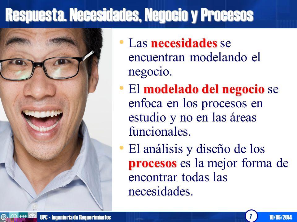 10/06/2014UPC - Ingeniería de Requerimientos 7 Respuesta. Necesidades, Negocio y Procesos necesidades Las necesidades se encuentran modelando el negoc