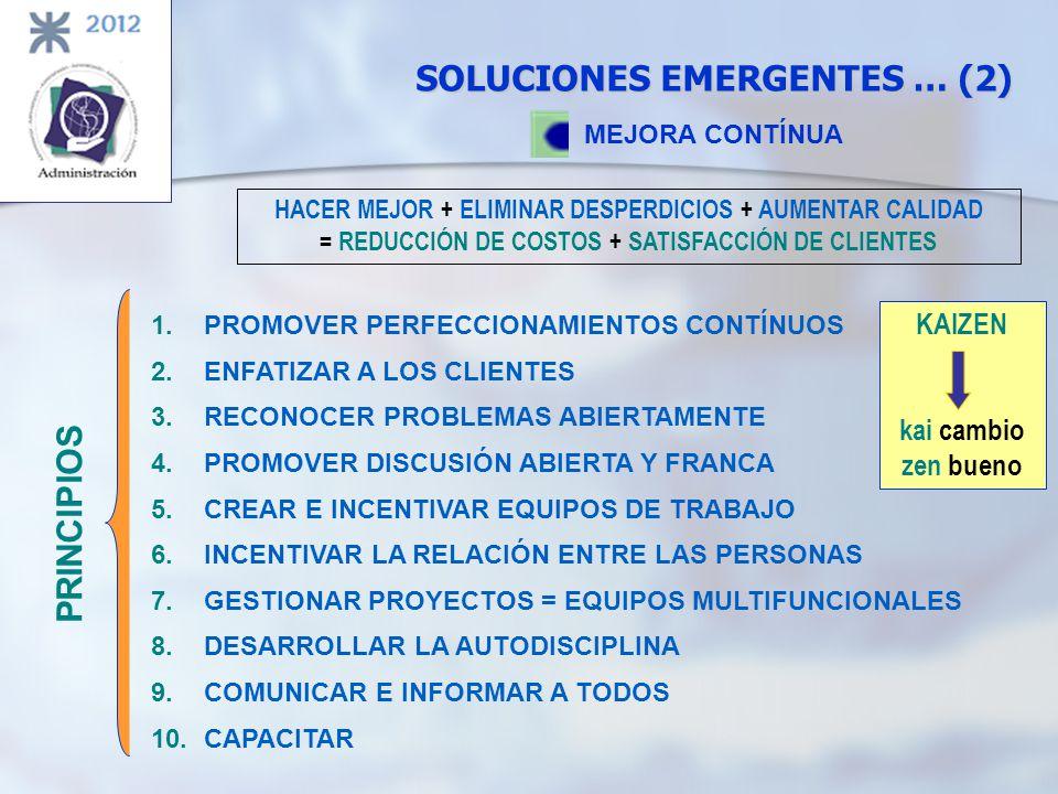 SOLUCIONES EMERGENTES … (2) MEJORA CONTÍNUA KAIZEN kai cambio zen bueno HACER MEJOR + ELIMINAR DESPERDICIOS + AUMENTAR CALIDAD = REDUCCIÓN DE COSTOS +