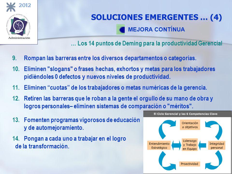 SOLUCIONES EMERGENTES … (4) MEJORA CONTÍNUA … Los 14 puntos de Deming para la productividad Gerencial 9.Rompan las barreras entre los diversos departa
