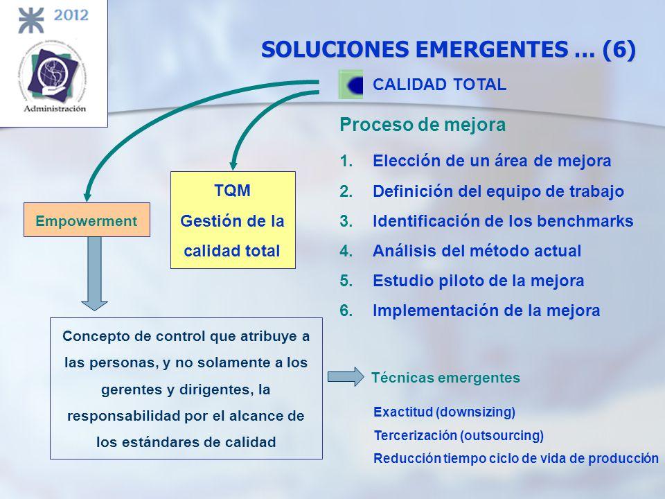 SOLUCIONES EMERGENTES … (6) CALIDAD TOTAL Proceso de mejora 1.Elección de un área de mejora 2.Definición del equipo de trabajo 3.Identificación de los