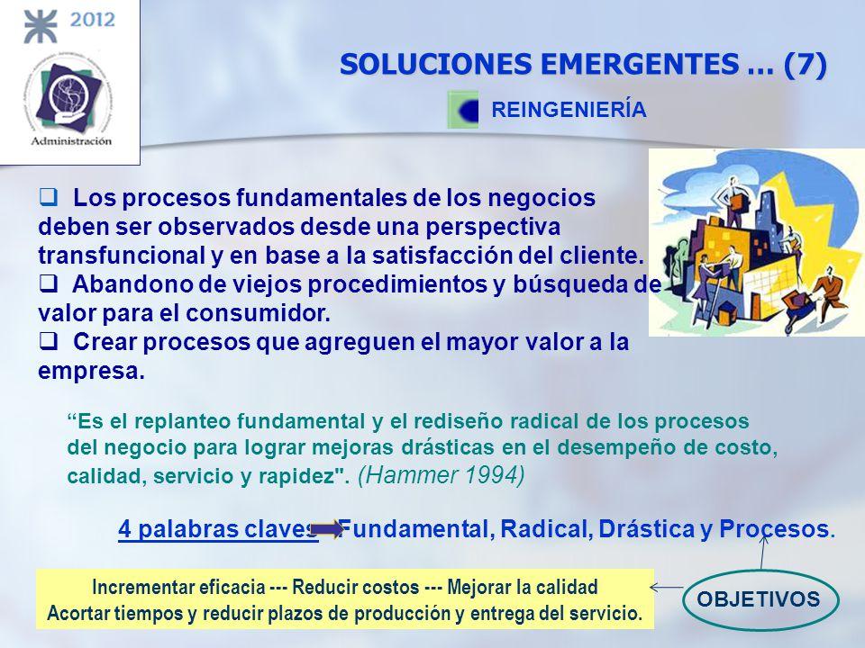 SOLUCIONES EMERGENTES … (7) REINGENIERÍA Es el replanteo fundamental y el rediseño radical de los procesos del negocio para lograr mejoras drásticas e