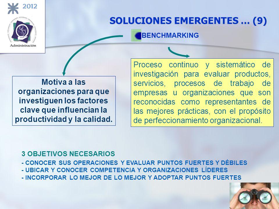 SOLUCIONES EMERGENTES … (9) BENCHMARKING 3 OBJETIVOS NECESARIOS - CONOCER SUS OPERACIONES Y EVALUAR PUNTOS FUERTES Y DÉBILES - UBICAR Y CONOCER COMPET
