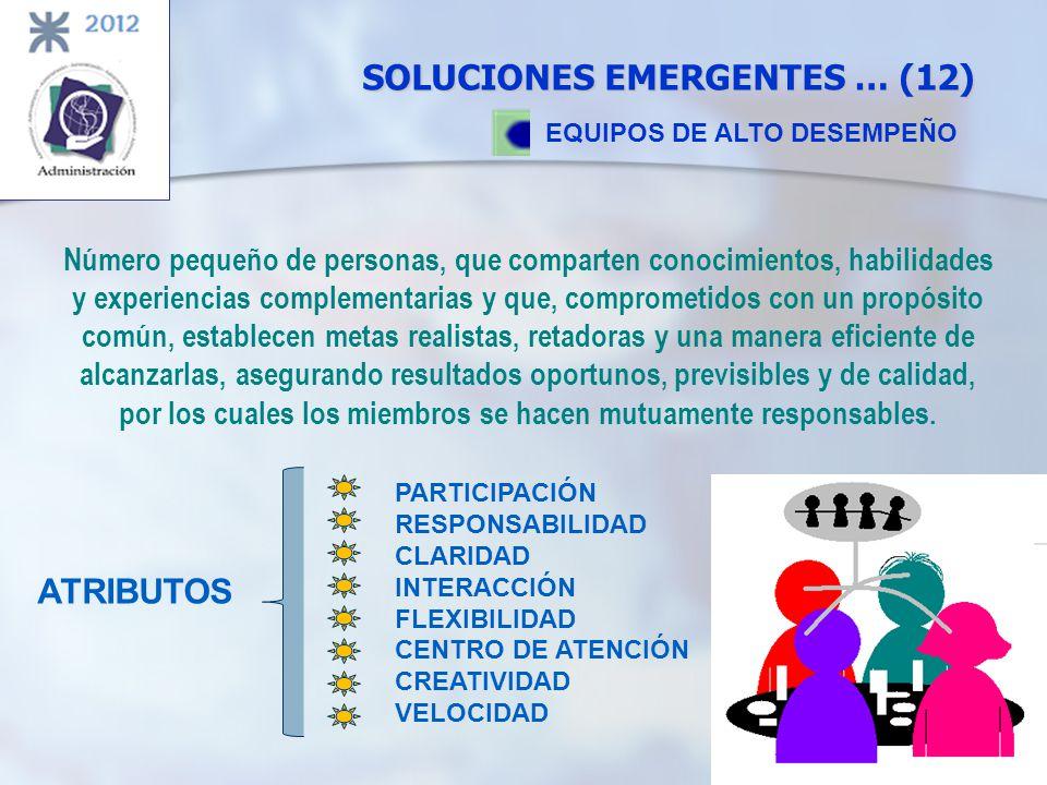 SOLUCIONES EMERGENTES … (12) EQUIPOS DE ALTO DESEMPEÑO Número pequeño de personas, que comparten conocimientos, habilidades y experiencias complementa