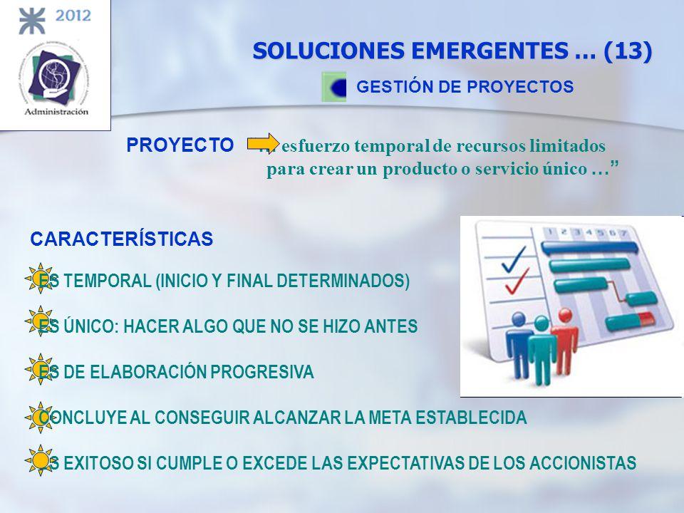 SOLUCIONES EMERGENTES … (13) GESTIÓN DE PROYECTOS PROYECTO … esfuerzo temporal de recursos limitados para crear un producto o servicio único … CARACTE