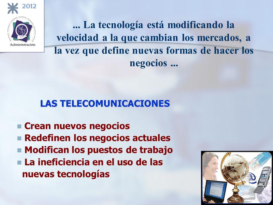 LAS TELECOMUNICACIONES Crean nuevos negocios Redefinen los negocios actuales Modifican los puestos de trabajo La ineficiencia en el uso de las nuevas