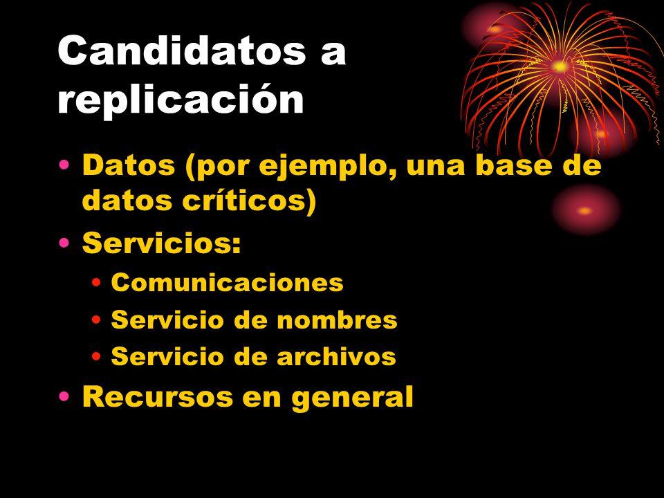 Candidatos a replicación Datos (por ejemplo, una base de datos críticos) Servicios: Comunicaciones Servicio de nombres Servicio de archivos Recursos en general