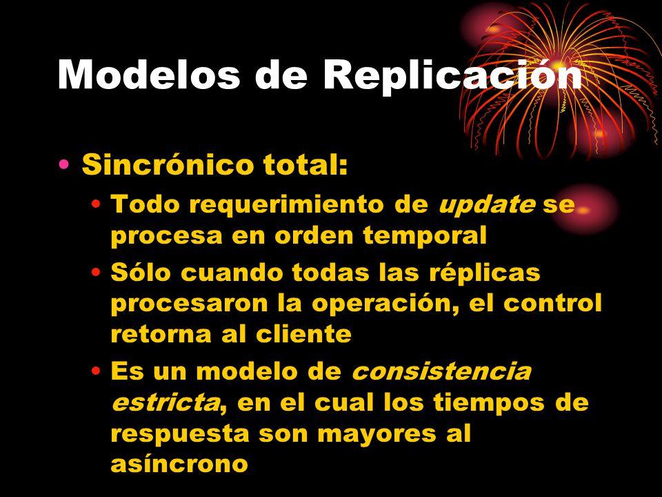 Modelos de Replicación Sincrónico total: Todo requerimiento de update se procesa en orden temporal Sólo cuando todas las réplicas procesaron la operación, el control retorna al cliente Es un modelo de consistencia estricta, en el cual los tiempos de respuesta son mayores al asíncrono