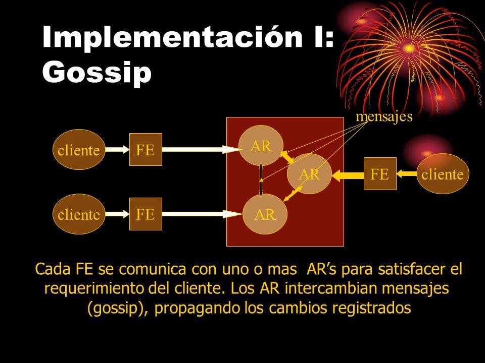 Implementación I: Gossip cliente FE AR cliente FE cliente FE Cada FE se comunica con uno o mas ARs para satisfacer el requerimiento del cliente.