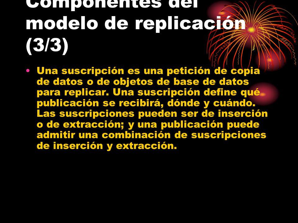 Una suscripción es una petición de copia de datos o de objetos de base de datos para replicar.